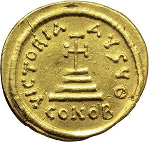 R/ Heraclius (610-641).  AV Solidus, Constantinople mint, 9th officina. Struck circa 616-625 AD. Obv. ∂∂ NN hЄRACLIЧS ЄT hЄRA CONST P P AV. Facing busts of Heraclius and Heraclius Constantine; each wears chlamys and crown with cross. Above, cross. Rev. VICTORIA AVGЧӨ. Cross potent on three steps; in exergue, CONOB. DOC 13h. MIB 11. Sear 738. AV. g. 4.41  mm. 20.50   X graffito on rev. About EF.