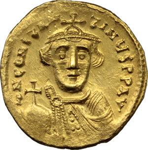D/ Constans II (641-668).  AV Solidus. Constantinople mint, 7th officina. Struck 641-646 AD. Obv. ∂N CONSTANTINЧS PP AV. Bust facing, beardless, wearing crown and chlamys and holding globus cruciger. Rev. VICTORIA AVςЧZ. Cross potent on three steps; in exergue, CONOB S. DOC 3. Sear 940. AV. g. 4.47  mm. 20.00   Brilliant and superb. Minor area of weakness, otherwise EF.