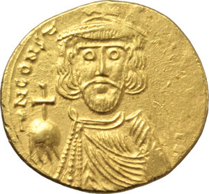 D/ Constantine IV Pogonatus, with Heraclius and Tiberius (668-685).  AV Solidus, Syracuse mint. Struck 677-8 AD. Obv. dN CONST-[ANTINYS YPP A] Crowned, draped and cuirassed facing bust of Constantine, wearing short beard and holding globus cruciger. Rev. VICTORIA [AVGY]. Heraclius and Tiberius, each holding globus cruciger, standing facing on either side of cross potent set on three steps; Γ to right. D.O. 56. MIB 31. Anastasi 223. Sear 1202. R -. AV. g. 4.39  mm. 20.00  RR. Very rare and superb. Areas of flatness on the legends, otherwise EF. A very attractive example of this beautiful and rare dynastic issue.