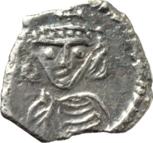 D/ Constantine IV, Pogonatus (668-685).  AR 1/8 Siliqua or 30 Nummi, Rome mint. Obv. No legend. Beardless bust facing, wearing crown and chlamys, and holding globus cruciger. Rev. Large Monogram (Sear 37). D.O. 80 a. Sear 1232. MIB 73. BMC (Constans II) 381. R-. AR. g. 0.20  mm. 8.50  RRR. Extremely rare and in exceptional condition for the issue. Good metal, brilliant and nicely toned. Good VF.