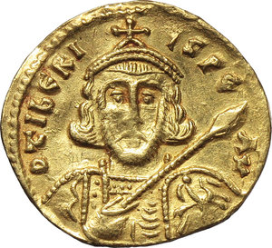 D/ Tiberius III, Apsimar (698-705).  AV Semissis, Constantinople mint. Obv. D tIbERIYS PE AV. Bust facing, with short beard, wearing crown and cuirass and holding spear and shield. Rev. VICTORIA AVGYS. Cross potent on globus. D.O. 3. R. 1700. Sear 1362. AV. g. 2.11   R.  Good VF/About EF.