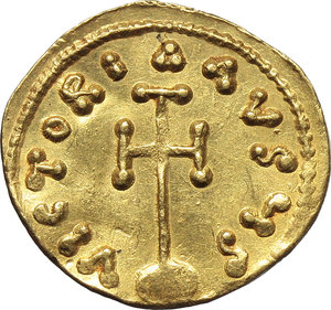 R/ Tiberius III, Apsimar (698-705).  AV Semissis, Constantinople mint. Obv. D tIbERIYS PE AV. Bust facing, with short beard, wearing crown and cuirass and holding spear and shield. Rev. VICTORIA AVGYS. Cross potent on globus. D.O. 3. R. 1700. Sear 1362. AV. g. 2.11   R.  Good VF/About EF.