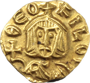 D/ Theophilus (829-842).  AV Tremissis, Syracuse mint. Obv. ΘEO-FILOS. Bust facing with short beard, wearing crown and chlamys, and holding globus cruciger. Rev. ΘE-OFILOS. Bust facing with short beard, wearing crown and loros, and holding cross potent. D.O. 27. T. 16-17. Sear 1678. AV. g. 0.98  mm. 10.00   A superb example. Good EF.