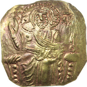 D/ The Empire of Nicaea. John III, Ducas (1222-1254).  AV Hyperpyron, Magnesia mint, circa 1232-1254. Obv. Christ seated facing upon throne without back, bearded and nimbate, wearing colobium over chiton, hand raised in benediction, holding Gospels in left; IC and XC in field above left and right. Rev. Standing facing figures of John, wearing stemma with pendilia, loros and divitision, holding labarum and akakia, and crowning the emperor, the Theotokos, nimbate, wearing maphorium over chiton. D.O. 6. Sear 2073. AV. g. 2.58  mm. 25.00  R. A superb example. Lovely reddish tone. Good EF.
