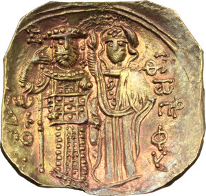 R/ The Empire of Nicaea. John III, Ducas (1222-1254).  AV Hyperpyron, Magnesia mint, circa 1232-1254. Obv. Christ seated facing upon throne without back, bearded and nimbate, wearing colobium over chiton, hand raised in benediction, holding Gospels in left; IC and XC in field above left and right. Rev. Standing facing figures of John, wearing stemma with pendilia, loros and divitision, holding labarum and akakia, and crowning the emperor, the Theotokos, nimbate, wearing maphorium over chiton. D.O. 6. Sear 2073. AV. g. 2.58  mm. 25.00  R. A superb example. Lovely reddish tone. Good EF.
