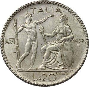 R/ Regno di Italia. Vittorio Emanuele III (1900-1943). 20 lire 1928 A.VI.    Pag. 673   Mont. 67. AG.    R.  qSPL.