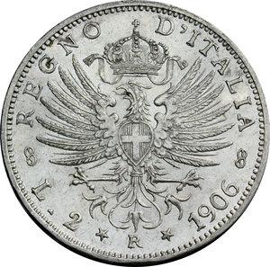 R/ Regno di Italia. Vittorio Emanuele III (1900-1943). 2 lire 1906.    Pag. 730. Mont. 145. AG.      SPL+.