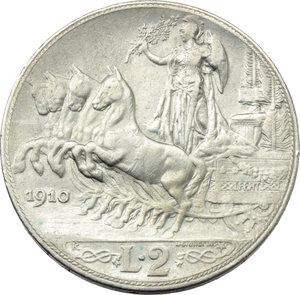 R/ Regno di Italia. Vittorio Emanuele III (1900-1943). 2 lire 1910.    Pag.733   Mont.148. AG.    R.  BB.