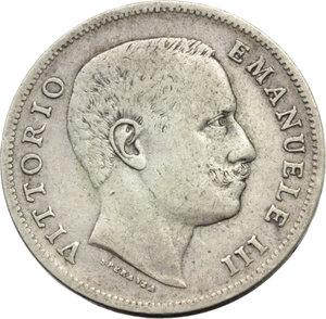 D/ Regno di Italia. Vittorio Emanuele III (1900-1943). Lira 1905.    Pag.765   Mont.190. AG.    RR.  BB.