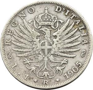 R/ Regno di Italia. Vittorio Emanuele III (1900-1943). Lira 1905.    Pag.765   Mont.190. AG.    RR.  BB.