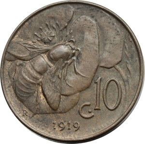 R/ Regno di Italia. Vittorio Emanuele III (1900-1943). 10 centesimi 1919.    Pag.864   Mont.328. AE.    RR.  SPL.