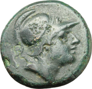 D/   AE Drachm, c. 240 BC. Obv. Helmeted head of beardless Mars right. Rev. Bridled horse's head right; behind, sickle; beneath, ROMA. Cr. 25/3. HN Italy 299. AE. g. 3.01  mm. 15.00   A superb example. Dark green patina. Insignificant traces of corrosion on obverse, otherwise about EF.