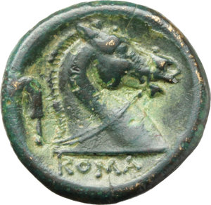 R/   AE Drachm, c. 240 BC. Obv. Helmeted head of beardless Mars right. Rev. Bridled horse's head right; behind, sickle; beneath, ROMA. Cr. 25/3. HN Italy 299. AE. g. 3.01  mm. 15.00   A superb example. Dark green patina. Insignificant traces of corrosion on obverse, otherwise about EF.