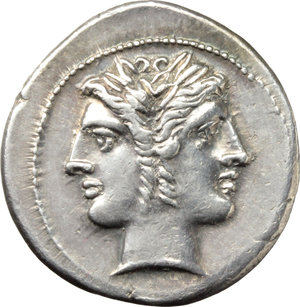 D/ Anonymous series.  AR Didrachm-Quadrigatus, c. 225-214 BC. Obv. Laureate Janiform head of Dioscuri. Rev. Jupiter holding sceptre and hurling thunderbolt in fast quadriga right driven by Victory; below, ROMA incuse on raised tablet. Cr. 28/3. SNG Lockett 52. AR. g. 6.56  mm. 24.00   Great metal. An outstanding example of magnificent style, brilliant and superb. EF.