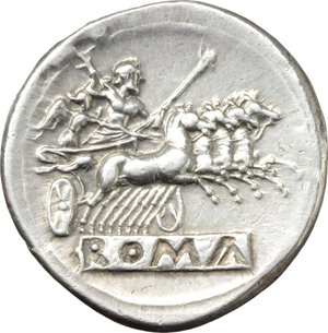 R/ Anonymous series.  AR Didrachm-Quadrigatus, c. 225-214 BC. Obv. Laureate Janiform head of Dioscuri. Rev. Jupiter holding sceptre and hurling thunderbolt in fast quadriga right driven by Victory; below, ROMA incuse on raised tablet. Cr. 28/3. SNG Lockett 52. AR. g. 6.56  mm. 24.00   Great metal. An outstanding example of magnificent style, brilliant and superb. EF.