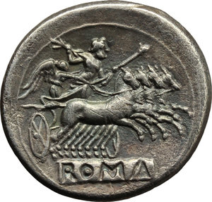 R/ Anonymous series.  AR Didrachm-Quadrigatus, c. 225-214 BC. Obv. Laureate Janiform head of Dioscuri. Rev. Jupiter holding sceptre and hurling thunderbolt in fast quadriga right driven by Victory; below, ROMA incuse on raised tablet. Cr. 28/3. SNG Lockett 52. AR. g. 6.17  mm. 23.50   A superb example of magnificent style. Lightly toned. About EF.