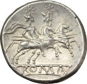 R/ Anonymous.  AR Quinarius, after 211 BC. Uncertain mint. Obv. Helmeted head of ROMA right; behind, V. Rev. The Dioscuri galloping right; in exergue, ROMA. Cr. 47/1a. AR. g. 2.30  mm. 15.00  R. Rare and overweight. Brilliant, superb and lightly toned. Good EF/FDC.