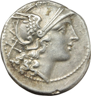 D/ Anonymous.  AR Denarius, c. 214-213 BC. Obv. Helmeted head of Roma right; behind, X. Rev. The Dioscuri galloping right; below, ROMA in raised letters within linear frame. Cr. 53/2. AR. g. 4.21  mm. 21.00   Broad flan. Brilliant, superb and lightly toned with iridescent hues. EF.
