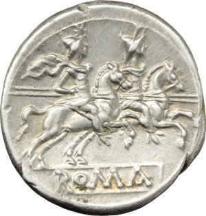 R/ Anonymous.  AR Denarius, c. 214-213 BC. Obv. Helmeted head of Roma right; behind, X. Rev. The Dioscuri galloping right; below, ROMA in raised letters within linear frame. Cr. 53/2. AR. g. 4.21  mm. 21.00   Broad flan. Brilliant, superb and lightly toned with iridescent hues. EF.