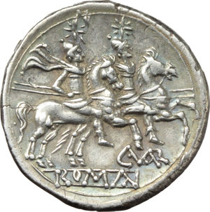 R/ C. Varro or C. Varrus.  AR Denarius, 209-208 BC, Sicily. Obv. Helmeted head of Roma right; behind, X. Rev. The Dioscuri galloping right; below, C. VAR ligate and ROMA in linear frame. Cr. 74/1. B. (Terentia) 2. AR. g. 4.39  mm. 19.00  RR. Very rare and perfectly struck on a broad and overweight flan. Superb light cabinet tone, with iridescent hues. Exceptional for issue. EF.