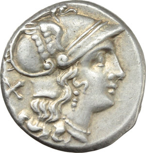 D/ Club series.  AR Denarius, 208 BC. South East Italy. Obv. Helmeted head of Roma right; behind, X. Rev. The Dioscuri galloping right; below, club; in exergue, ROMA in linear frame. Cr. 89/2. AR. g. 4.35  mm. 18.00   A superb example. Light iridescent tone. EF.
