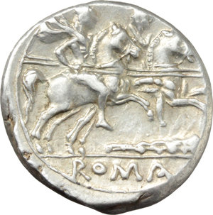 R/ Club series.  AR Denarius, 208 BC. South East Italy. Obv. Helmeted head of Roma right; behind, X. Rev. The Dioscuri galloping right; below, club; in exergue, ROMA in linear frame. Cr. 89/2. AR. g. 4.35  mm. 18.00   A superb example. Light iridescent tone. EF.