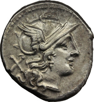 D/ Star (first) series.  AR Denarius, c. 206-195 BC. Obv. Helmeted head of Roma right; behind, X. Rev. The Dioscuri galloping right; below, eight-rayed star and ROMA in partial tablet. Cr. 113/1. AR. g. 3.91  mm. 20.00  Scarce. Brilliant, superb and lightly toned. EF.