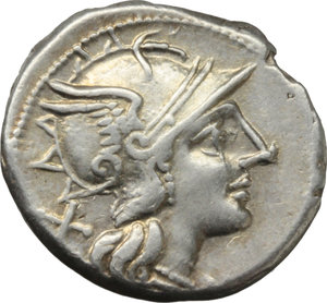 D/ C. Scribonius.  AR Denarius, 154 BC. Obv. Helmeted head of Roma right; behind, X. Rev. The Dioscuri galloping right; below horses, C. SCR; in exergue, ROMA. Cr. 201/1. AR. g. 3.60  mm. 19.00   Slight die-weakness. Brilliant and superb.  EF.