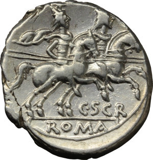 R/ C. Scribonius.  AR Denarius, 154 BC. Obv. Helmeted head of Roma right; behind, X. Rev. The Dioscuri galloping right; below horses, C. SCR; in exergue, ROMA. Cr. 201/1. AR. g. 3.60  mm. 19.00   Slight die-weakness. Brilliant and superb.  EF.
