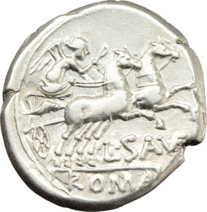 R/ L. Saufeius.  AR Denarius, 152 BC. Obv. Helmeted head of Roma right, X behind. Rev. Victory in biga right; L. SAVF below horses, ROMA in exergue. Cr. 204/1. B.1. AR. g. 3.91  mm. 18.00    EF. Brilliant and superb.