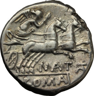 R/ Pinarius Natta.  AR Denarius, 149 BC. Obv. Helmeted head of Roma right; behind, X. Rev. Victory in biga right; below horses, NATTA; in exergue, ROMA. Cr. 208/1. B. 1. AR. g. 3.70  mm. 16.80    About EF.