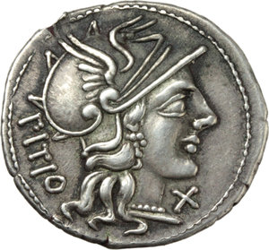 D/ L. Sempronius Pitio.  AR Denarius, 148 BC. Obv. Helmeted head of Roma right; behind, PITIO; before, X. Rev. The Dioscuri galloping right; below, L.SEMP; in exergue, ROMA. Cr. 216/1. B. 2. AR. g. 3.34  mm. 20.00   An outstanding example, perfectly centred on a broad (underweight) flan. Enchanting light cabinet tone. EF.
