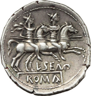 R/ L. Sempronius Pitio.  AR Denarius, 148 BC. Obv. Helmeted head of Roma right; behind, PITIO; before, X. Rev. The Dioscuri galloping right; below, L.SEMP; in exergue, ROMA. Cr. 216/1. B. 2. AR. g. 3.34  mm. 20.00   An outstanding example, perfectly centred on a broad (underweight) flan. Enchanting light cabinet tone. EF.