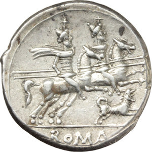 R/ C. Antestius.  AR Denarius, 146 BC. Obv. Helmeted head of Roma right; behind, C. ANTESTI; before, X. Rev. The Dioscuri galloping right; below, dog running right; in exergue, ROMA. Cr. 219/1e. B. 1. AR. g. 3.84  mm. 20.00   Good metal and broad flan. Brilliant, superb and lightly toned. EF.