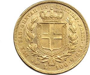 R/ Carlo Alberto (1831-49) 100 lire 1834T. Pag.139. Au. SPL