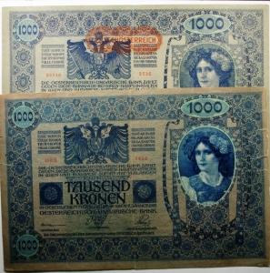 D/ Cartamoneta. Austria. Lotto di 2 Banconote da 1000 Corone TAUSEND KRONEN. Sovrastampa deutschösterreich. Discreta Conservazione, quella con SERIE 1623 ha stampato 2 volte il dritto.s.v