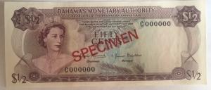 D/ Cartamoneta.Bahamas 1968. Fifty cents SPECIMEN. FDS.s.v