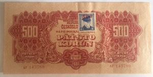 D/ Cartamoneta. Cecoslovacchia 1944. 500 Corone. SPECIMEN traforato. SPL+.s.v.