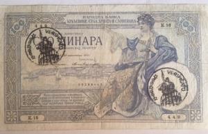 D/ Cartamoneta. Jugoslavia. 100 Dinari 1920. Verificato. RRRRR. BB+.s.v