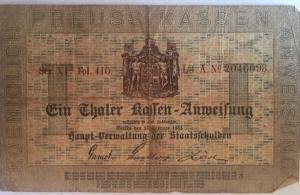 D/ Cartamoneta. Prussia. Ein Thaler. Preuss Kassen. Berlin 13\2\1861. BB.RR.s.v.