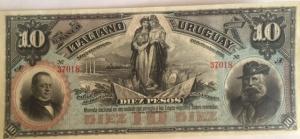 D/ Cartamoneta. Uruguay. Banco Italiano del Uruguay. 10 pesos 1887. SPL.s.v.