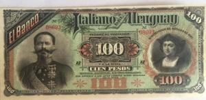 D/ Cartamoneta. Uruguay. Banco Italiano del Uruguay. 100 pesos 1887. SPL.s.v