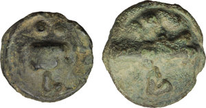 reverse: Greek Italy. Apulia, Luceria.  Lot of two (2) AE cast coins: AE Aes Grave Quadrunx and AE Biunx, c. 217-212 BC.   HN Italy 677 b. T.V. 282. Vecchi ICC 346 and HN Italy 677d. TV 284. ICC 348. AE.     Green patina.  Good VF.
