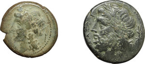 obverse: Greek Italy.  Multiple lot of two (2) unclassified AE coins of Neapolis and Arpi.          About VF:VF.