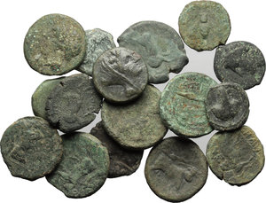obverse: Greek Italy. Central and Southern Campania, Neapolis.  Multiple lot of sixteen (16) unclassified AE coins.    AE.      About F: About VF.