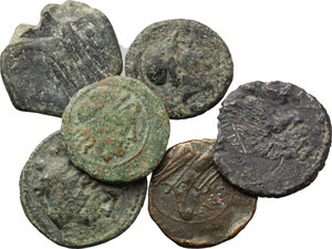 obverse: Roman Republic.  Multiple lot of six (6) unclassified AE coins.    AE.      VF:F.