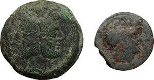 obverse:  Repubblica romana Lotto di 3 nominali di bronzo da classificare. Un asse, un triente ed un quadrante.