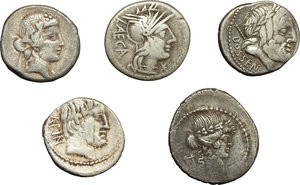 obverse: Roman Republic.  Multiple lot of five (5) unclassified AR Denarii.          About VF:VF.