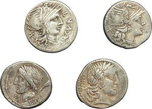 obverse: Roman Republic.  Multiple lot of four (4) unclassified AE Denarii.          VF.