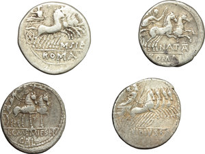 reverse: Roman Republic.  Multiple lot of four (4) unclassified AE Denarii.          VF.